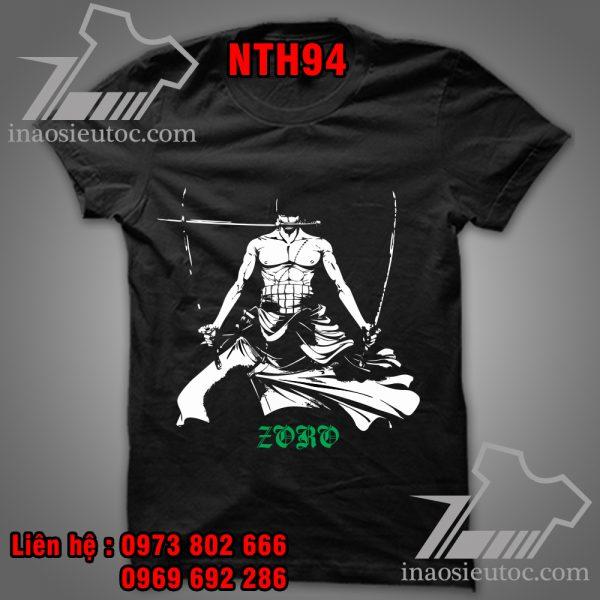 Áo phông đen Zoro - Áo One Piece theo yêu cầu tại Hà Giang
