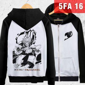 Áo khoác Natsu Fairy Tail đen trắng in 3D